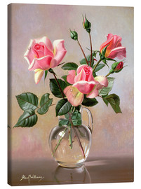 Canvas print  Pink Roses in a Glass Jug - Albert Williams