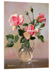 Foam board print  Pink Roses in a Glass Jug - Albert Williams