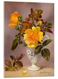 Acrylic print  Orange Roses in a blue and white jug - Albert Williams