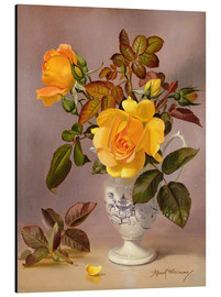 Aluminium print  Orange Roses in a blue and white jug - Albert Williams