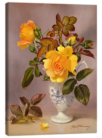 Canvas print  Orange Roses in a blue and white jug - Albert Williams