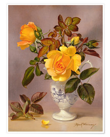 Premium poster Orange Roses in a blue and white jug