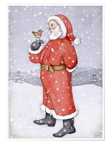 Premium poster Father Christmas and a Robin