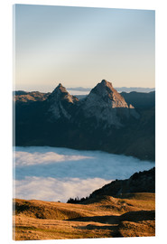 Acrylic print  Grosser and Kleiner Mythen mountain peak above cloudscape at sunrise - Peter Wey