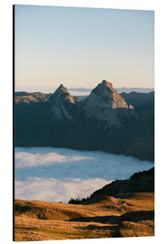 Aluminium print  Grosser and Kleiner Mythen mountain peak above cloudscape at sunrise - Peter Wey