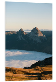 Foam board print  Grosser and Kleiner Mythen mountain peak above cloudscape at sunrise - Peter Wey