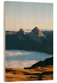 Wood print  Grosser and Kleiner Mythen mountain peak above cloudscape at sunrise - Peter Wey