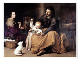 Premium poster  The Holy Family with the Little Bird - Bartolome Esteban Murillo
