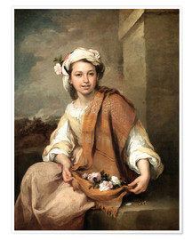 Poster  The Flower Girl   - Bartolome Esteban Murillo