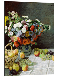 Aluminium print  Still Life with Flowers and Fruit - Claude Monet