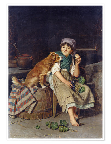 Premium poster Girl with Dog