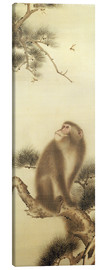 Canvas print  Monkey watching a dragonfly - Japanese School