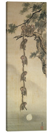 Canvas  Monkeys reaching for the Moon - Japanese School