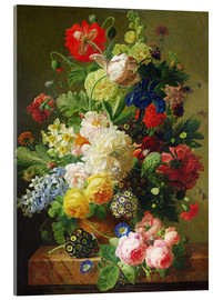 Acrylic print  Flowers in a vase on a marble console table - Jan Frans van Dael