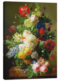 Canvas print  Flowers in a vase on a marble console table - Jan Frans van Dael