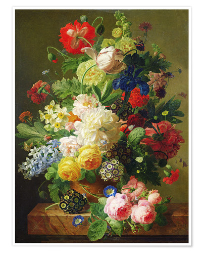 Premium poster Flowers in a vase on a marble console table