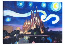 Canvas  Starry Night in Barcelona   Van Gogh Inspirations with Sagrada Familia - M. Bleichner