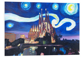 Foam board print  Starry Night in Barcelona - M. Bleichner