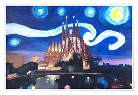 Premium poster  Starry Night in Barcelona - M. Bleichner