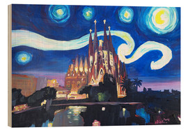 Wood print  Starry Night in Barcelona - M. Bleichner