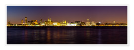 Poster  Liverpool skyline at night Panorama - Thomas Hagenau