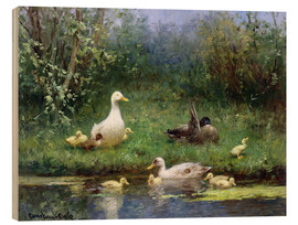 Wood print  Ducks on the riverbank - David Adolph Constant Artz