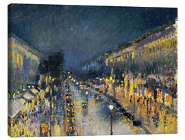Canvas  The Boulevard Montmartre at Night, 1897 - Camille Pissarro