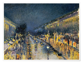 Premium poster Montmartre Boulevard at night 1897