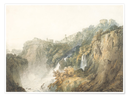 Premium poster Tivoli with the Temple of the Sibyl and the Cascades