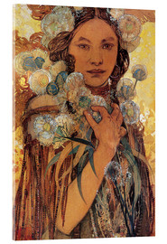 Acrylic print  Native American woman with flowers and feathers - Alfons Mucha