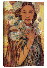 Canvas  Native American Woman with Flowers and Feathers - Alfons Mucha