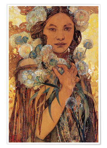 Premium poster Native American woman with flowers and feathers