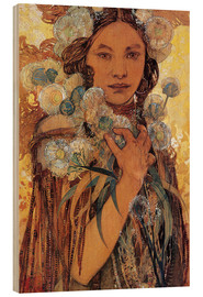 Wood  Native American Woman with Flowers and Feathers - Alfons Mucha