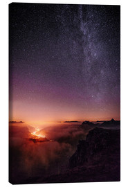 Canvas print  Nightscape view from Leglerhütte over cloudscape by night, Glarus, Switzerland - Peter Wey