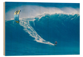 Wood print  On the Kiteboard in Hawaii - MakenaStockMedia