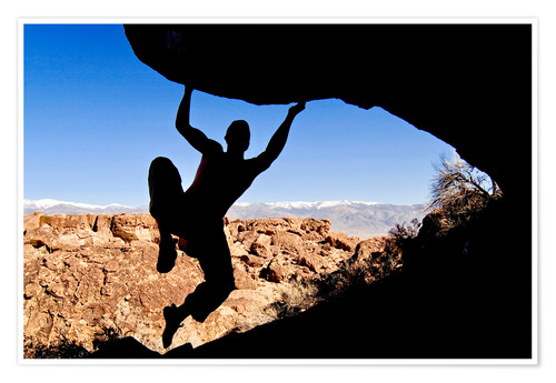 Premium poster Silhouette of a Rock Climber