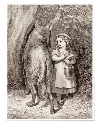 Premium poster Scene From Little Red Riding Hood By Charles Perrault