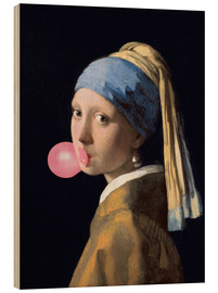 Wood print  The Girl with a Pearl Earring (gum)