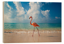 Wood print  Flamingo on the beach - Ian Cuming
