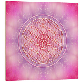 Wood print  Flower of life - unconditional love - Dolphins DreamDesign