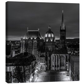 Canvas print  Aachen Cathedral at night black / white - rclassen