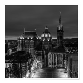 Premium poster Aachen Cathedral at night black / white