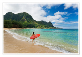 Premium poster  Surfer on Maui - M. Swiet