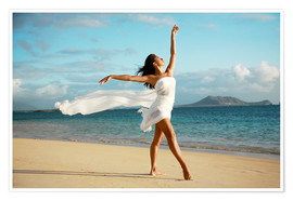 Premium poster Ballet dancer on the beach