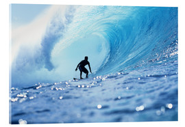 Acrylic print  Surfer in the pipeline Barrel - Vince Cavataio