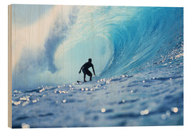 Wood print  Surfer in the pipeline Barrel - Vince Cavataio