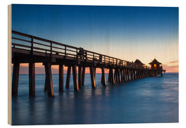 Wood print  Pier of Naples at sunset, Florida - Circumnavigation