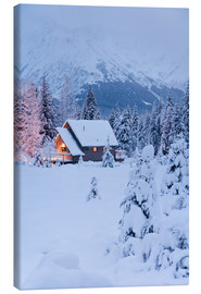 Canvas print  Winter landscape with a hut - Jeff Schultz