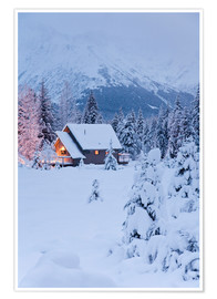 Premium poster  Winter landscape with a hut - Jeff Schultz