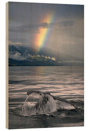 Wood print  Humpback whale fin off Alaska - Ron Sanford